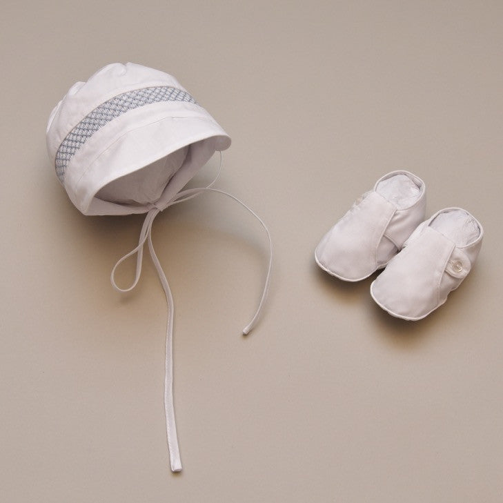 Baby Boys Smocked Bonnet with T-strap Booties