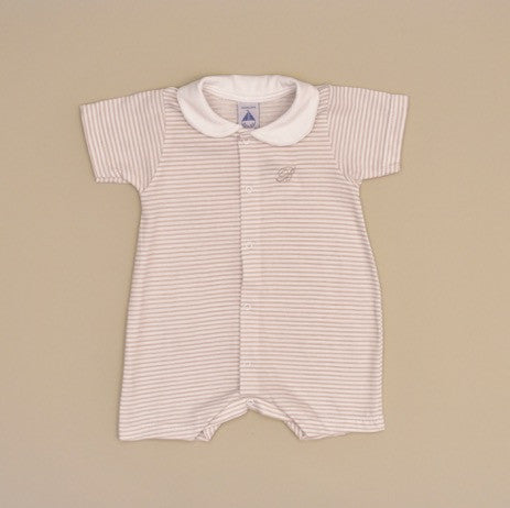 Beige and White 100% Cotton Baby Striped Short Sleeve Romper with White Collar