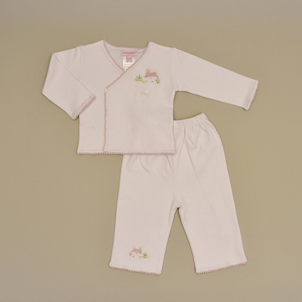 Pink Rabbit 100% Cotton White Baby Tee and Pant Set with Hand Crochet Trim and Hand Embroidered Pink Rabbit