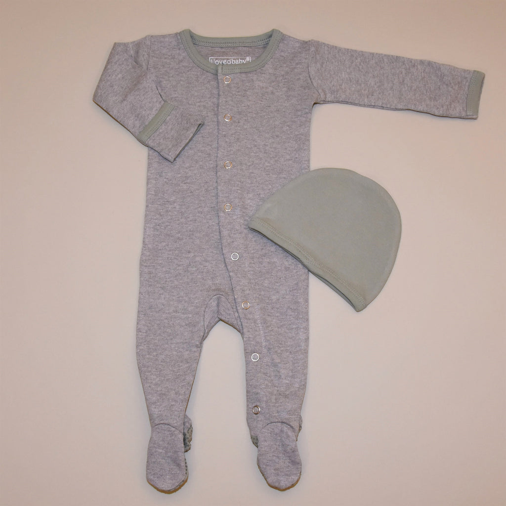 Heather Gray and Sage Organic Cotton Footed Overall and Cap