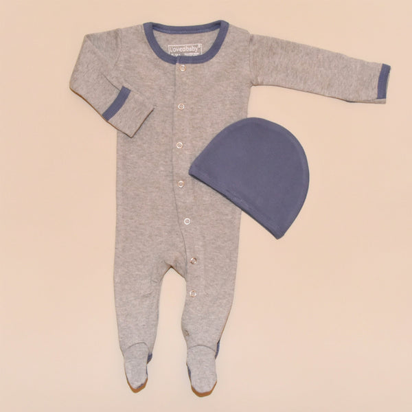 Heather Gray and Blue Organic Cotton Footed Overall and Cap