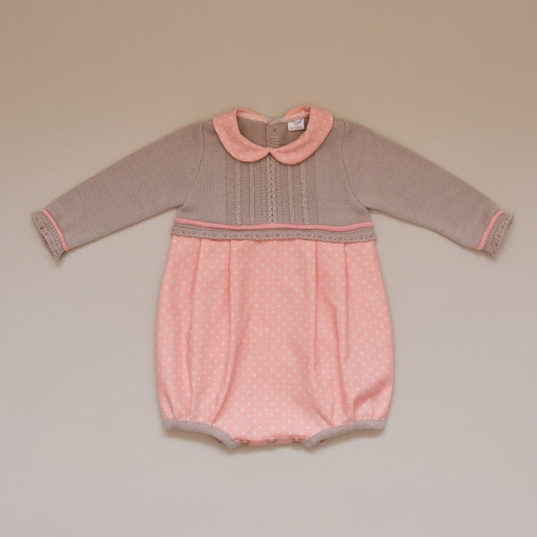 Baby Taupe and Salmon Knit Sweater and Polka Dot Romper