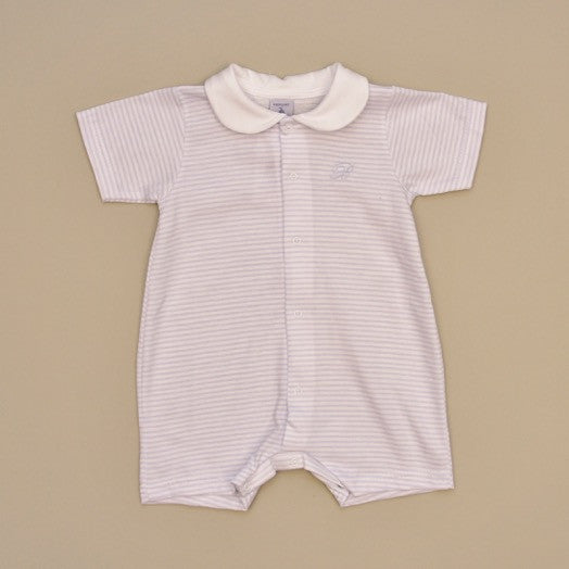 Blue and White 100% Cotton Baby Short Sleeve Striped Romper with White Collar