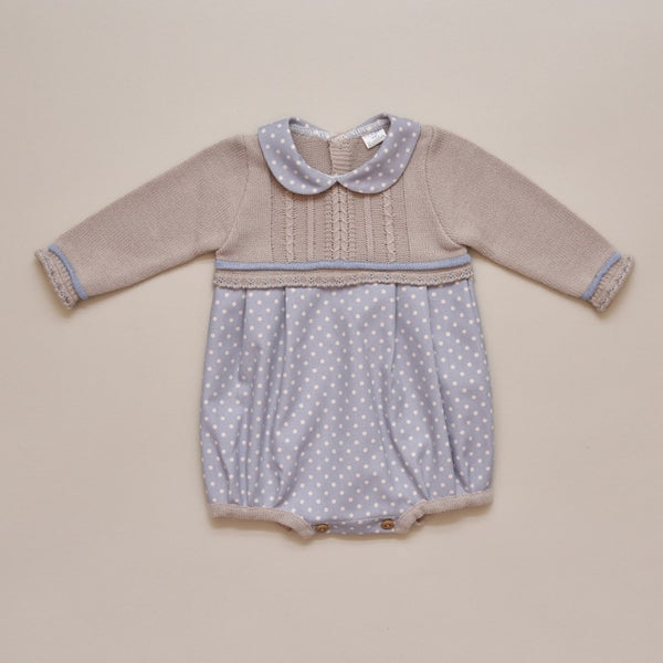 Blue and Taupe Knit Sweater and Polka Dot Romper