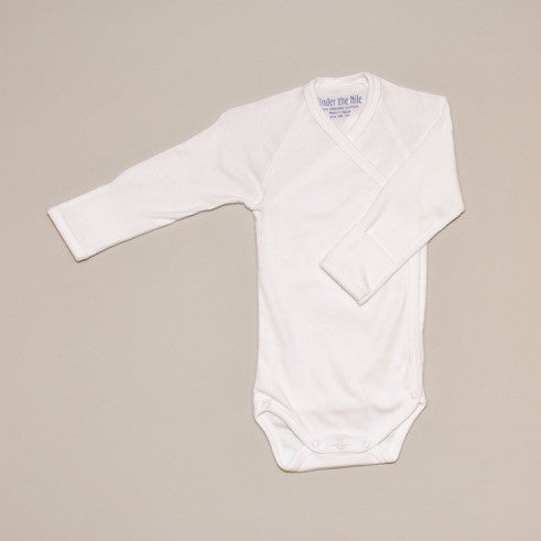 100% Organic Cotton Off White Long Sleeve Baby Bodysuit/Onesie