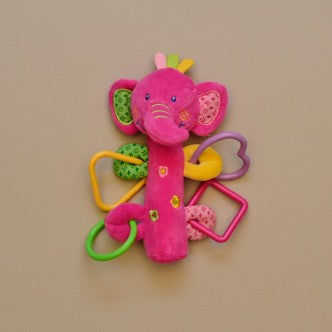 Baby Elephant Squeaky Ring Rattle