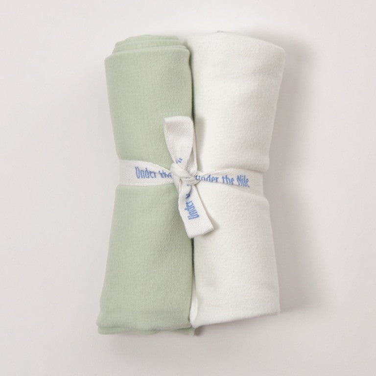 Green and Off White 100% Egyptian Organic Cotton Swaddle Blankets