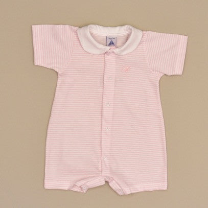 White and Pink 100% Cotton Baby Pink and White Striped Romper with White Collar