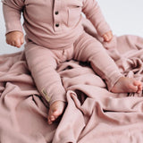 Pink Thermal Organic Cotton Long Sleeve Shirt and Drawstring Lounge Pants