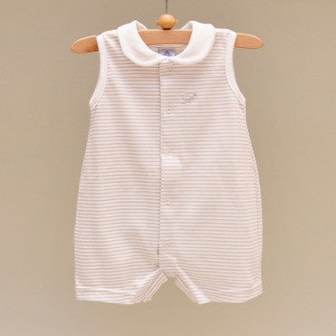 100% Cotton Beige and White Baby Sleeveless White Collar Romper