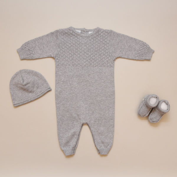 Baby Grey Diamond Grid Knit Long Sleeve Sweater Longall Set with Hat and Booties