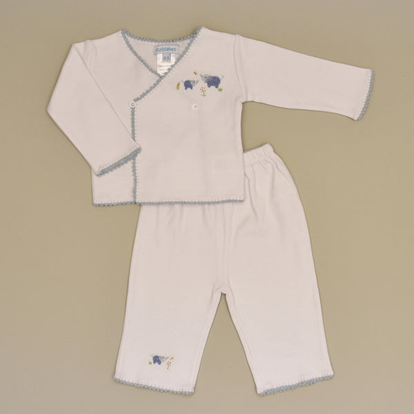 100% Cotton White Baby Tee and Pant Set with Hand Crochet Trim and Hand Embroidered Blue Elephant