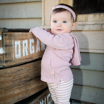 Beige and Mauve 100% Organic Cotton Hoodie, Leggings and Headband Set