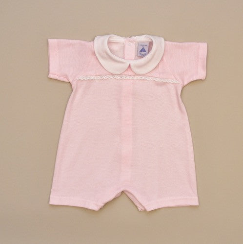 100% Cotton Pink and White Striped Baby Romper with White Collar and Lace