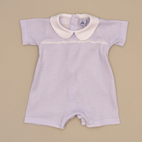 100% Cotton Baby Short Sleeve White Collar Romper with Blue Stripes and White Lace