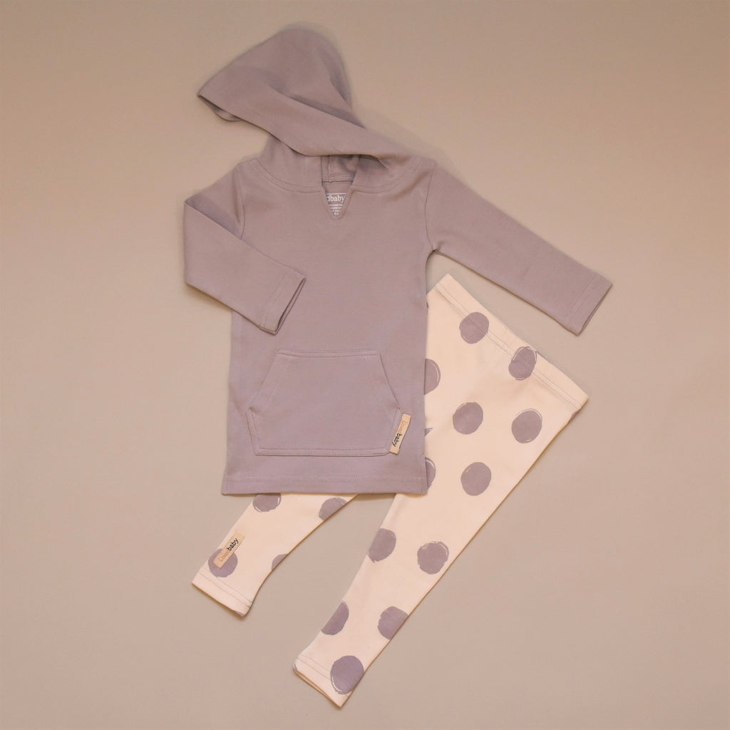Light Gray Organic Cotton Long Sleeve Hoodie with Beige and Light Gray Leggings