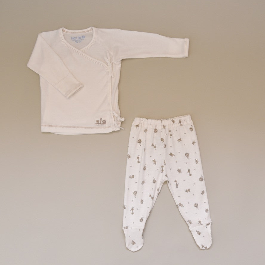 Baby 100% Organic Egyptian Cotton Two Piece Side Snap Layette Set in Animal Print