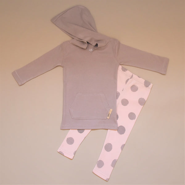 Pink and Gray Polka Dot Leggings with a Gray Long Sleeve Hoodie Shirt