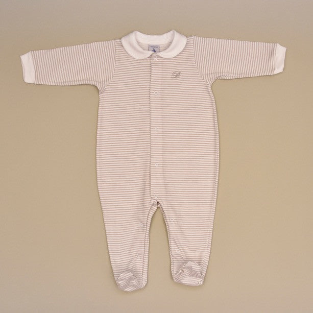 Beige and White 100% Cotton Baby Long Sleeve White Collar Footy Romper