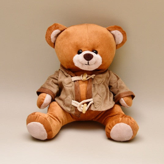 Baby Bear Stuffed Animal with Suede Jacket