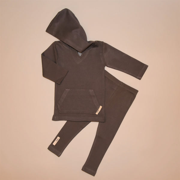 Dark Gray Organic Cotton Long Sleeve Hoodie Shirt and Legging Set