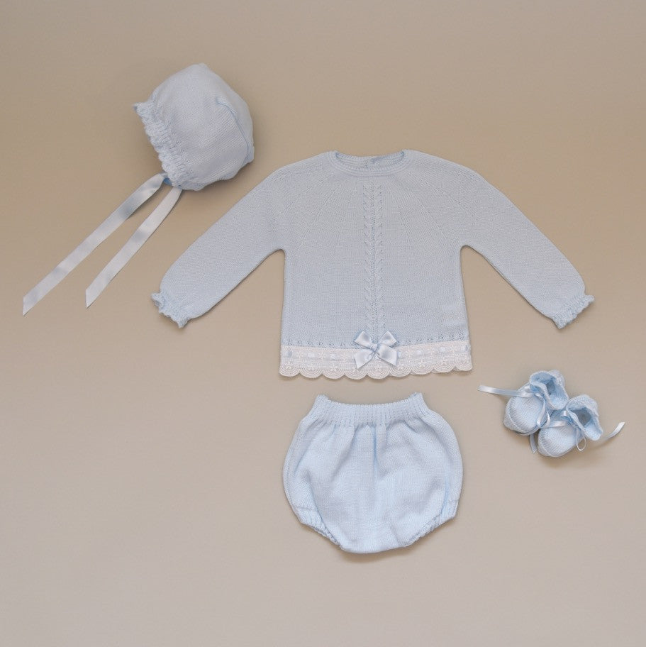 Newborn Blue and White Four Piece Knit Sweater Set