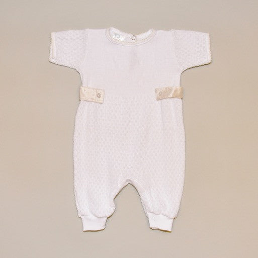 Ivory and White Baby Short Sleeve Knit Romper