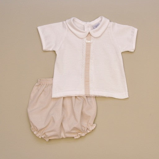 100% Cotton White Baby Short Sleeve Top with White Beige Dot Lace Detail and Beige Dot Bloomers