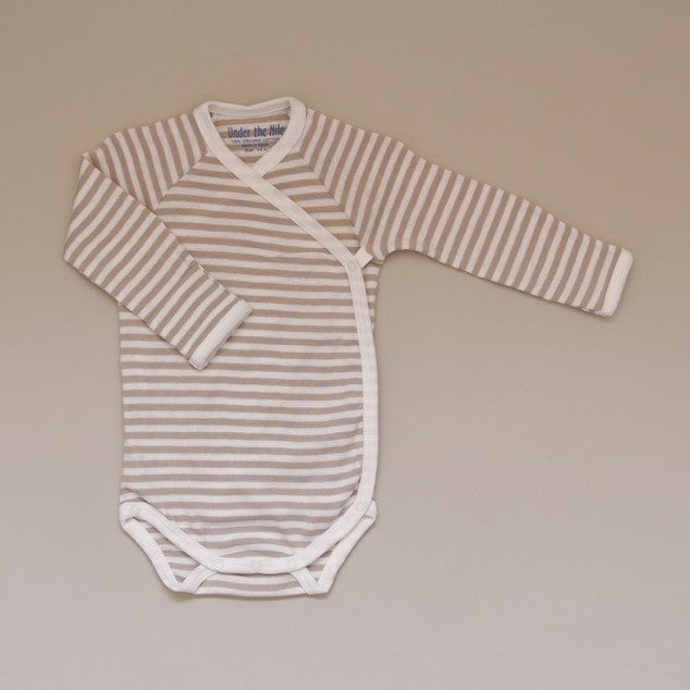 100% Organic Cotton Baby Long Sleeve Tan and White Striped Bodysuit/Onesie