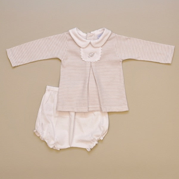 White and Beige Stripe 100% Cotton Baby Long Sleeve White Collar Two Piece Playsuit