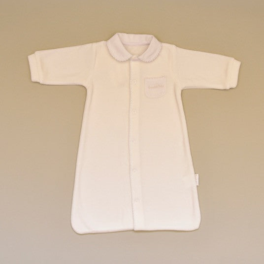Ivory Velour Long Sleeve Baby Sack with White Pique Collar