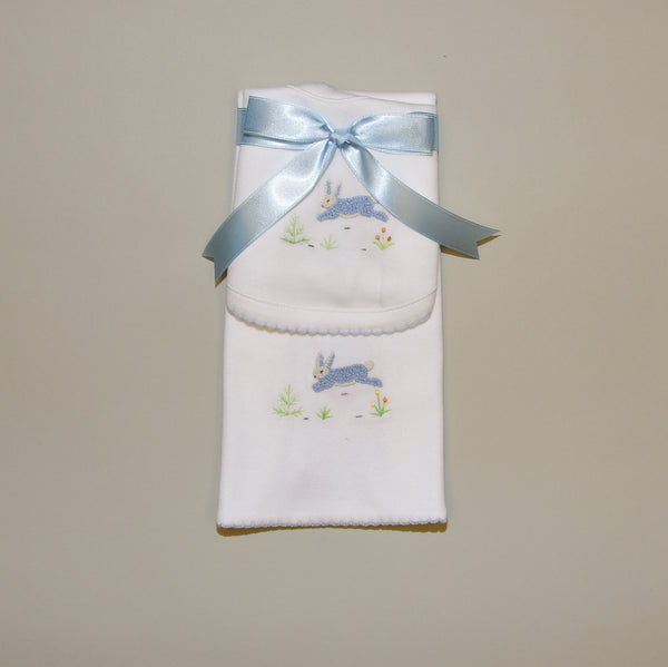 100% Cotton White Baby Bib and Burp Pad with Hand Embroidered Blue Bunny Rabbit