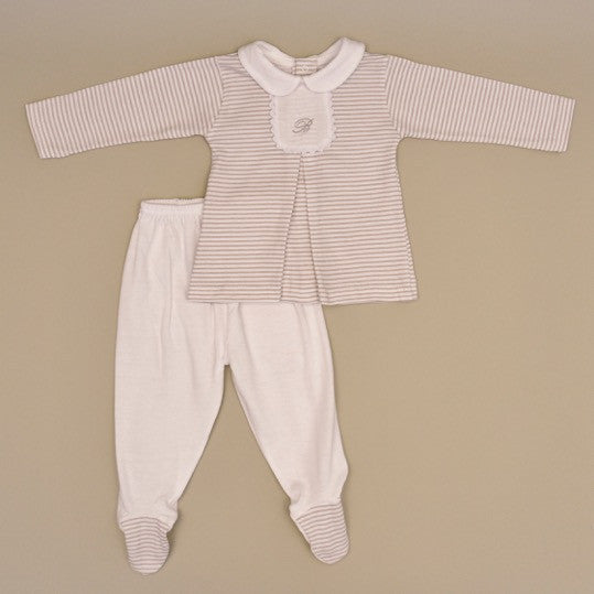 Beige and White stripped 100% Cotton Baby Long Sleeve White Collar Two Piece Footy Playsuit