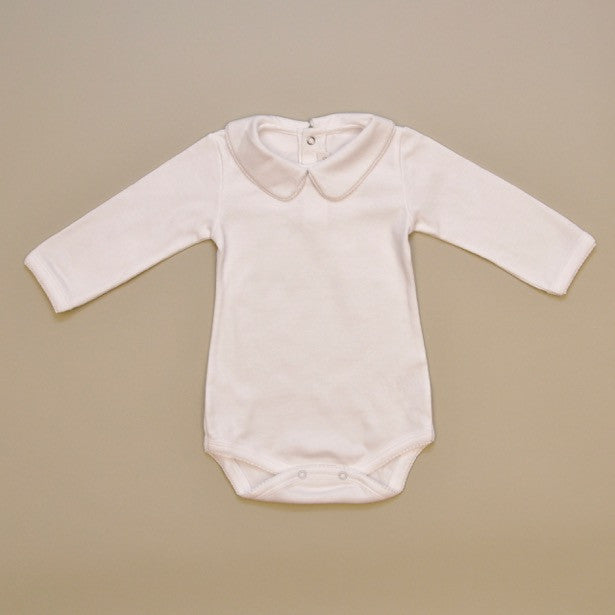 100% Cotton White Baby Body Suit with Hand Crochet Details on Collar