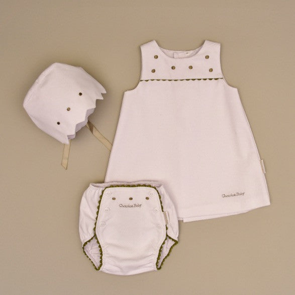 Gray and White Baby Pique Dress Set with Olive Gray Embroidered Dots