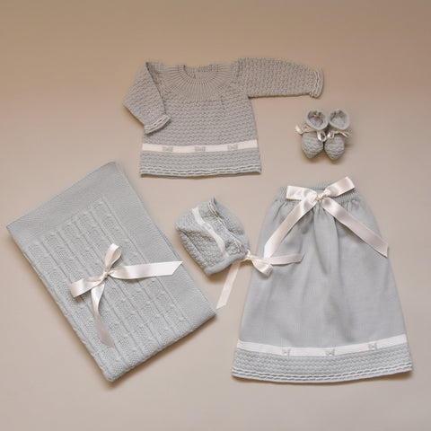 White and Iceberg Newborn Baby Five Piece Sweater Knit Set
