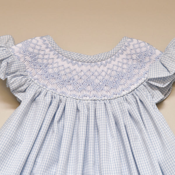 Smocked Blue Check Girls Bishop Dress with Bloomers
