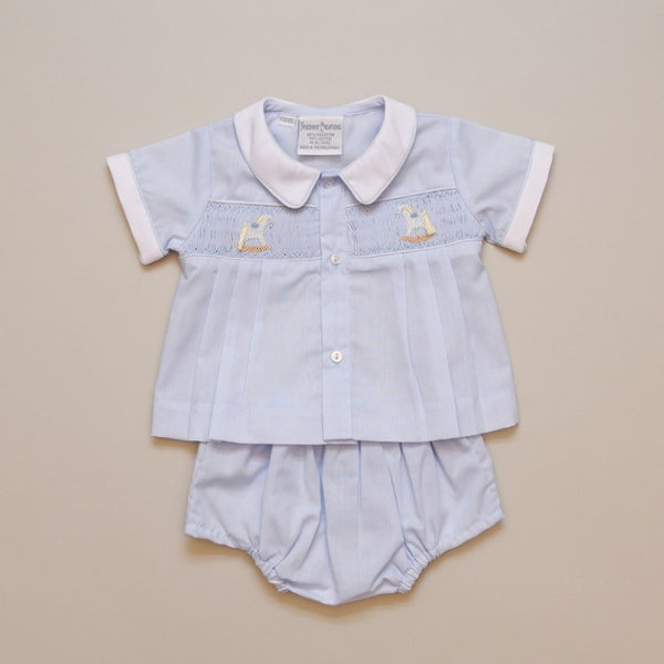 Newborn Smocked Rocking Horse 2 Piece Diaper Set