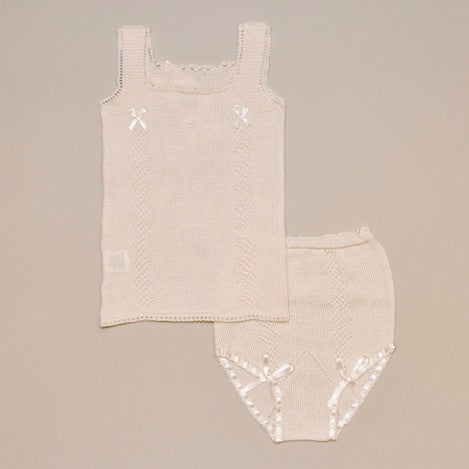100% Egyptian Cotton Beige Hand Knitted Baby Top and Bloomer Set