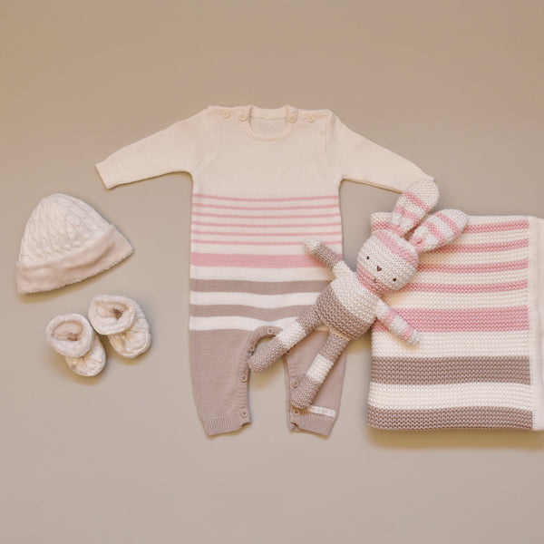 100% Cotton Cream, Pink and Mink Knitted Striped All in One Suit, Blanket, Bunny and Cream Knitted Hat and Booties Set