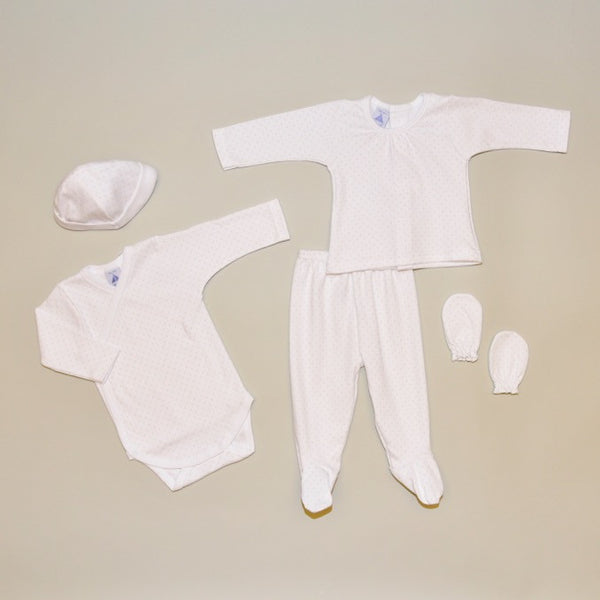 100% Cotton Beige and White Newborn Five Piece Gift Set