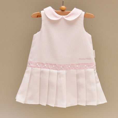 White and Pink Pique Baby Dress