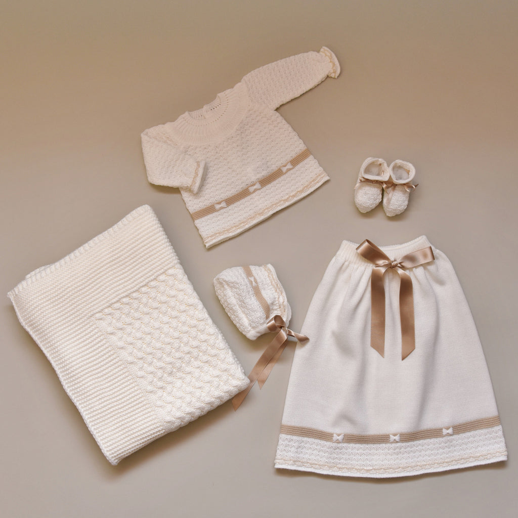 Ivory and  Beige Newborn Baby Five Piece Sweater Knit Set