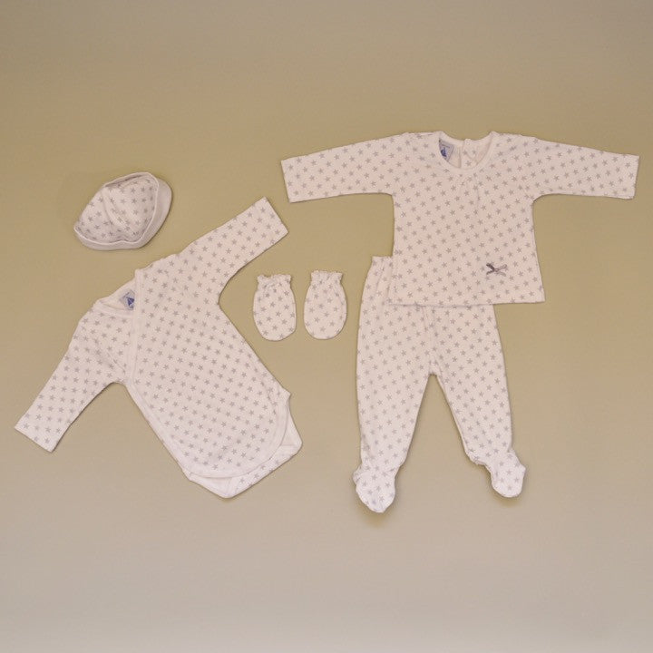 100% Cotton White with Gray Stars Newborn Five Piece Gift Set