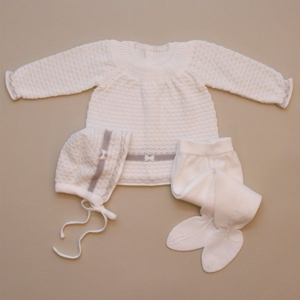 Three Piece White and Gray Knit Sweater Set