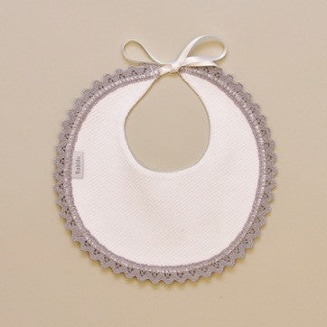 100% Cotton Baby White Round Bib with Gray Crochet Edge