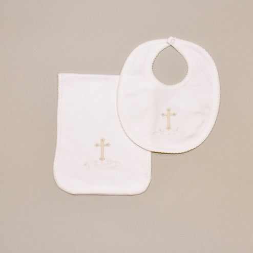 100% Cotton White Baby Bib and Burp Pad with Hand Embroidered Ecru Holy Cross