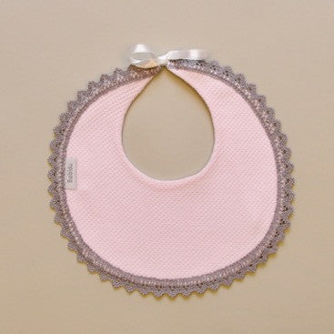 100% Cotton Baby Pink Round Bib with Gray Crochet Edge