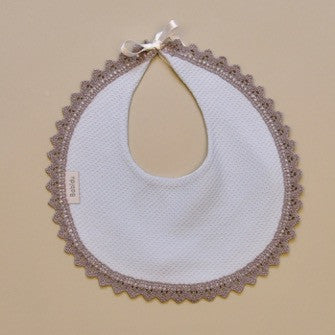 100% Cotton Blue Baby Round Bib with Gray Crochet border