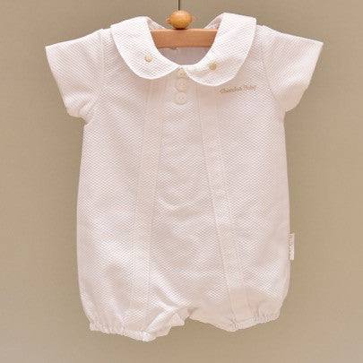 Beige and White Pique Cotton Lined Baby Shortfall with Embroidered Beige Dots